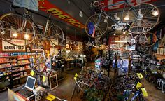 Vecchio's.  Classic, Boulder-located bike shop.  Custom bikes ONLY, walls plastered with timeless iconography of the sport.  Must.  Visit.