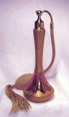 Antique 1925 DeVilbiss Cranberry Gold Encrusted Perfume Scent Atomizer Bottle