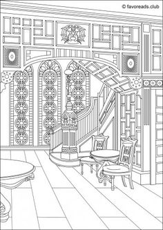 victorian hall printable adult coloring page