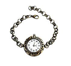 Handmade Women Fashion Vintage-style Antique Bronze Round Watch Bracelet