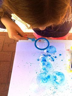 Painting Rainbows: Bubble Blower Painting ... mix food coloring with bubble solution ... fun backgrounds or artworks ...