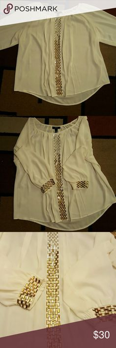 Jeweled Blouse Off white cream colored centered jeweled Blouse Alfani Tops Blouses
