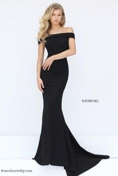 Size 6 Black Sherri Hill 50824 Off the Shoulder Slim Gown