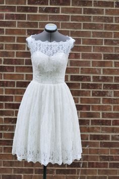 Lanvu Short Wedding Dress-Boat neckline lace overlay-Custom Made for your special day. $500.00, via Etsy.