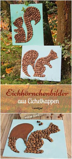 Basteln mit Naturmaterialien macht im Herbst besonders viel Spaß. Aus knubbelig… Crafting with natural materials is especially fun in autumn. From knobbly acorn caps arise with craft glue and some color small works of art.