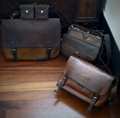 Excellent selection of vintage leather goods. Leather Satchel, Leather Bags, Man Purse, Cool Gear, Vintage Leather, Vintage Bag, Leather Projects, Swiss Army, Canvas Leather
