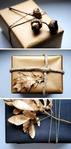 #Christmas gift wrapping ideas #DIY #crafts ToniK ⓦⓡⓐⓟ ⓘⓣ ⓤⓟ Natural black gold metallic acorns leaves pepermint.si