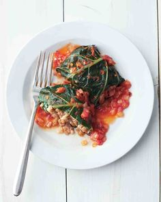 Stuffed Collard Greens--use leftover pasta for filling