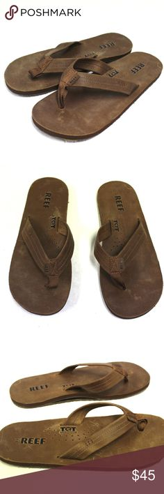 81c3d78d0364 3737 Reef Men 11 Flats Flip Flops Leather Brown 3737 Reef Men 11 Flats Flip  Flops