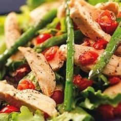Chicken Asparagus Salad--uses cooked chicken -- possibly use with rotisserie chicken for a fast meal