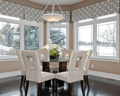 Incredible Kitchen Window Valances With Beautiful Patterns: Impressive Kitchen Window Valances Combined With White Framed Glass Windows And White Pendant Lamp Over Glass Dining Table And White Chairs ~ crgrafix.com Contemporary Home Design Inspiration