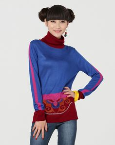 Liebo New High Collar Embroidery Jacquard Wool Knit Sweater