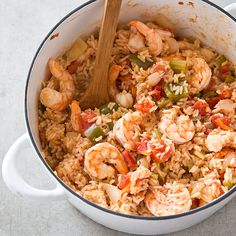 Combine rice, shrimp, stock, green bell pepper, and celery in one big pot and you get a deeply flavorful South Carolina specialty known as Charleston Shrimp Perloo.