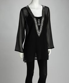 Take a look at this Ash & Sara Black Beaded Sheer V-Neck Tunic by Signature Style: Women's Apparel on #zulily today!