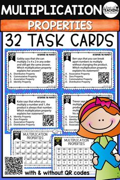 32 Multiplication Properties Task Cards to help your students review properties of multiplication. These are perfect for review, Scoot game, math center, assessment tool, or test prep!  Multiplication Properties Included in Product:  •Associative Property •Commutative Property •Distributive Property •Identity Property •Zero Property   This product is aligned to 4.OA.1