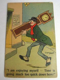 COMICUS Postcard 1900s Pawnbroker Pawn Shop Pledge Office GRANDFATHER CLOCK | eBay