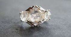 Raw Diamond Ring Uncut Engagement Ring Sterling Silver by Avello