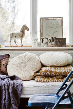 cream, purple, pewter, brass, ivory, black, mustard  Johanna Flyckt Gashi via Design for Mankind
