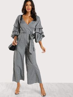 2ca0498c260 SheIn offers Gathered Sleeve Surplice Wrap Plaid Jumpsuit   more to fit  your fashionable needs.