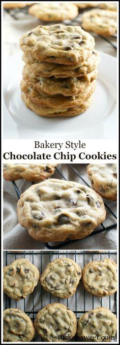 Bakery Style Chocolate Chip Cookies - Stuck On Sweet - c. - Bakery Style Chocolate Chip Cookies – Stuck On Sweet – chocolate chip c - Cookies Receta, Yummy Cookies, Yummy Treats, Sweet Treats, Super Cookies, Yummy Cookie Recipes, Homemade Cookies, Mini Cookies, Drop Cookies