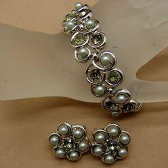 Vintage Crown Trifari Green Gray Glass Faux Pearl Bracelet Clip Earrings Grey #Trifari