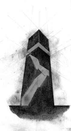 Water Tower project Saif Mhaisen. Pencil on paper.