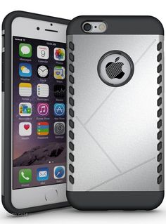iPhone 6S Case / iPhone 6 Case,DIOS CASE(TM) Inner Rubber shield with Outer Hard Plastic 2 in 1 Hybrid High Impact Durable Armor Defender Protection Case Cover for iPhone 6/6S 4.7 inch (Silver) -- Check out this great product.