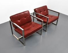 Pair of Chrome Milo Baughman for Thayer Coggin Lounge Chairs, USA, 1970s | From a unique collection of antique and modern lounge chairs at https://www.1stdibs.com/furniture/seating/lounge-chairs/