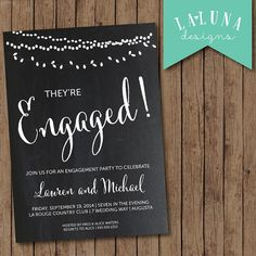 Hey, I found this really awesome Etsy listing at https://www.etsy.com/listing/200651535/engagement-party-invitation-chalkboard