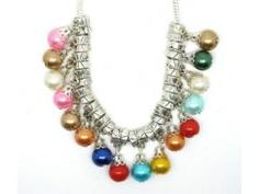 20 Pack of Silver & Pearl Dangle Beads - MIXED Colors