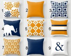 Throw Pillow Covers Navy Orange Pillow Couch Cushion Blue Orange Decor Home Decor Living Room Pillow Elephant Decor Geometric Pillow Dekokissenbezüge Navy Orange Kissen Couch Kissen Blue Orange Decor Home Decor Wohnzimmer Kissen Couch Cushion Covers, Couch Cushions, Throw Pillow Covers, Orange Couch, White Throw Pillows, Orange Pillows, Living Room Decor Orange, Rideaux Design, Contemporary Pillows