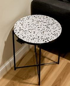Terrazzo and black round circular side table Ikea Bar Cart, Gold Spray Paint, Shades Of Gold, Contact Paper, Hacks Diy, Ikea Hack, Terrazzo, Easy Diy, Diy Projects