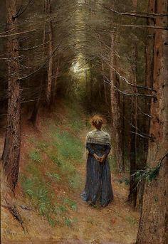 """Bertha Wegmann (Danish, 1847-1926) - """"Fyrreskov i Tyrol"""" (Pine forest in the Tyrol) ~ETS #woods #gorgeousredhead #tranquility"""