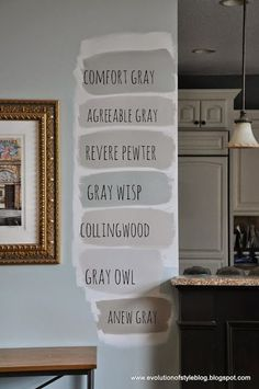 Often suggested: Agreeable Gray, Revere Pewter and Anew Gray Interior Paint Colors, Paint Colors For Home, House Colors, Paint Colours, Light Grey Paint Colors, Living Room Paint Colors, Greige Paint Colors, Gray Wall Colors, Light Gray Walls