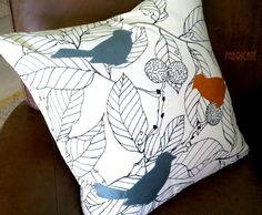 Silk Birds on Ikea Stockholm Blad- Pillow Cover. $30.00, via Etsy.