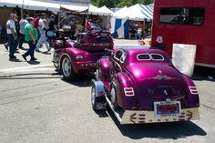 Gold Wing trike pulling cool travel trailer designed as a '39 Ford Coupe