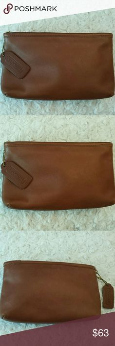 Coach Brown Leather Cosmetic Pouch Coach Brown Leather Cosmetic Pouch,  Zip Closure,  Tag included,  some marks on leather and edges,  Otherwise good condition,  see closet for a larger matching pouch Coach  Bags Cosmetic Bags & Cases