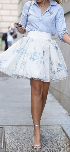So cute!! Tulle skirt, blue shirt