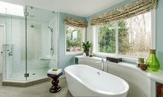 Great way to get some pattern on windows without covering them. Also doesn't require tons of fabric. Lorraine Street traditional-bathroom