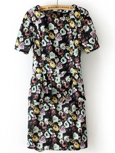 Black Short Sleeve Back Zipper Floral Dress - Sheinside.com - just got this dress at H - so comfortable and cute on!