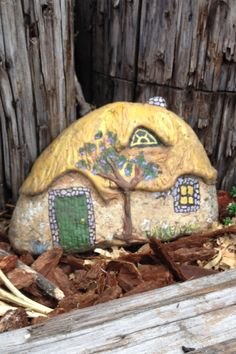 Painted rock house for fairy garden