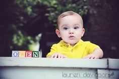 3 month photo ideas. 6 month photo ideas. 9 month photo ideas. 1 year photo ideas for boy. Summer baby pictures. Baby photo with name in wooden blocks. Toddler picture ideas. Vintage style. Lauren Davidson Photography.  https://www.facebook.com/pages/Lauren-Davidson-Photography/601485646546258
