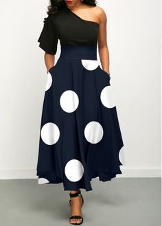Long Maxi Dresses Polka Dot One Shoulder Two Piece Dress Blue Dress Outfits, Navy Blue Dresses, Spandex Dress, Womens Clothing Stores, Two Piece Dress, Dresses For Sale, Dresses Online, Dress First, Women's Fashion Dresses