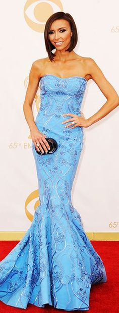 Who made Giuliana Rancic's blue strapless gown that she wore to the 2013 Emmy's?