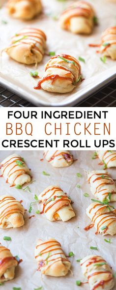 Four Ingredient BBQ Chicken Roll Ups. A Simple Appetizer | This Gal Cooks #SweetBabyRays