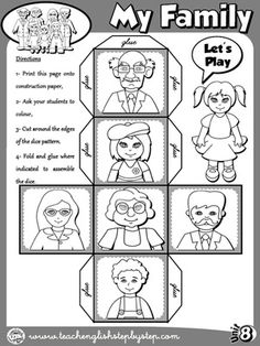 My Family - Dice (B&W version) - Bildung English Games, Kids English, English Activities, English Lessons, Learn English, Preschool Family, Body Preschool, English Language Learning, Teaching English Grammar