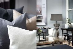 Slettvoll styling - love the grey/gray pillows and coffee table Style At Home, Scandinavian Style, Cosy Interior, Interior Design, Dining Sofa, Rustic Interiors, Grey Interiors, Home Fashion, Home Living Room