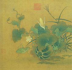 南宋 - 韓祐 -《螽斯綿瓞》                        設色畫, 25.3 x 26公分。韓祐(十二世紀)是江西石城人。南宋紹興年間(1131~1162)曾擔任畫院祇候的職位。他最擅長畫小景和花卉,草蟲則是以林椿為師法的對象。 本幅選自「宋元集繪」冊第十三開。描寫田間一角,花葉生長茂盛,瓜果也已熟透,引來了兩隻覓食的螽斯。瓞是指小型的瓜,由於瓜曼能夠綿延生長,且不斷結實,螽斯亦生產力旺盛,因此古人畫此,常蘊含有祝願子孫眾多的吉祥寓意。