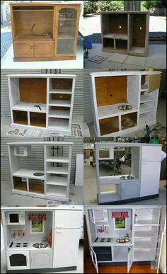 Turn a tv stand into a kids kitchen