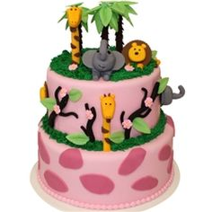 """Happy Birthday Pink Jungle Theme Fondant Cake, with 2 tiers decorated with palm trees, jungle cat, elephant, giraffe and a monkey. Safari cake with zoo animals 6"""", 10"""". Nut Free Toronto Cake Delivery"""